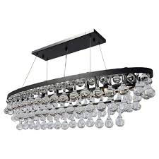 celeste rectangular oval glass drop crystal chandelier black
