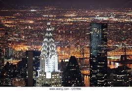 chrysler building at night skyline. new york city manhattan chrysler building at night aerial view stock image skyline i