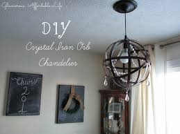affordable diy crystal iron orb chandelier for living room decoration ideas