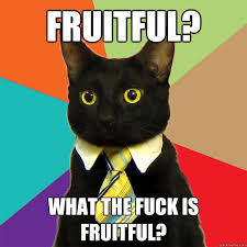 Fruitful? What the fuck is fruitful? - Business Cat - quickmeme via Relatably.com