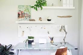 shelves for office. How To Decorate With Floating Shelves Home Office Midcentury Silver Desk Lamp Glass White For
