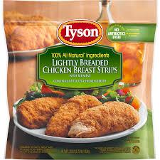Tyson Naturals Lightly Breaded Chicken Strips Tyson Fully Cooked Lightly Breaded Chicken Strips 36 Oz Frozen Walmart Com