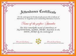 Certificate Templates Perfect Attendance Certificate Free Template