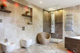 Small Picture Interior Of Luxury Bathroom With Beige Tiles Stock Photo Picture