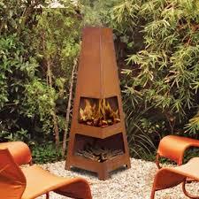 sahara outdoor rust firepit chiminea backyard fireplace garden heater