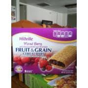 millville cereal bars fruit grain mixed berry nutrition grade c