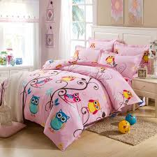 girl full size bedding sets pink and colorful nature night owl print jungle animal 100 cotton