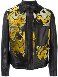 ann demeulemeester abstract pattern jacket 099 men clothing leather jackets