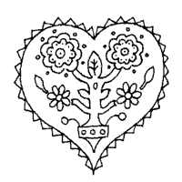 heart design coloring pages.  Coloring Flower Plant Inside Heart For Design Coloring Pages A