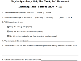AQA Haydn Clock - Episode Listening Task by Montague78 - Teaching ...