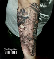 Second Part Of This Amazing Compass And World Map Tattoo Sleeve By