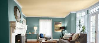 living room with accent ceiling paint color