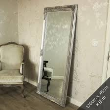 large ornate silver wall floor mirror 176cm x 76cm