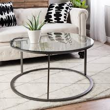 Round glass top 24 Inch Porch amp Den Round Glass Top Metal Coffee Table Overstock Shop Porch Den Round Glass Top Metal Coffee Table Free Shipping