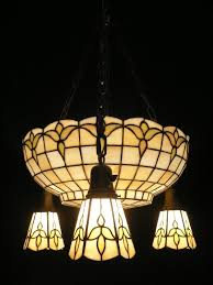 sold large inverted dome antique leaded glass chandelier