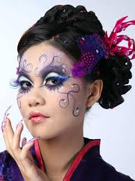 anese geisha makeup adored with stones and face paint