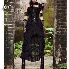TOPMELON Gothic Steampunk Long Skirts Female Vintage Ruffles ...