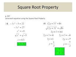 6 square root property p 557 solve each equation using the square root property