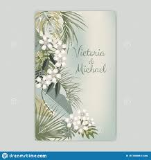 Wedding Ceremony Brochure Vector Tropical Background In Olive Green Colors Botany