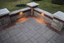 stone paver patio with accent band
