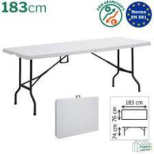 table pliante en valise rectangulaire blanche de 183cm en polyéthylène