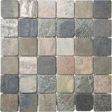 Slate Wall Tiles Kitchen Shop Anatolia Tile Multi Color Tumbled Uniform Squares Mosaic