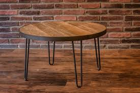 round table 30 inch reclaimed wood top with metal band free