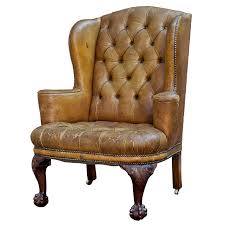 tufted english leather wingback chair for