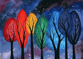 night colour original watercolour painting of swirly rainbow trees by kl bailey art