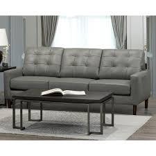 colt mid century modern grey top grain italian leather tufted sofa free today 20847586
