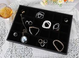 black jewelry display tray 24 cells velvet jewelry storage box ring earring bracelet necklace holder diy finding organizer in jewelry packaging display