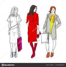 стильная мода модели молодые девушки мода женщины эскиз векторное