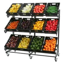 Fruit And Vegetable Display Stand Fruit and Vegetable Outside Display Stand on Locking Castors 2