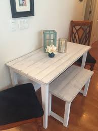 Small Farmhouse Table For Small Room Bench And Distressed White