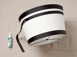 striped lampshade diy project