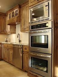 Double Oven Kitchen Cabinet Double Oven And Microwave And Alder Kitchen Cabinets Rustic