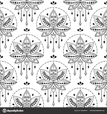 индийский лотос цветок вектор бесшовные модели стиль татуировки хной