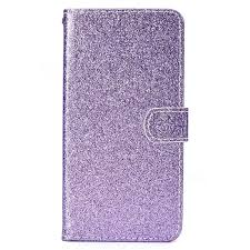glitter shine leather wallet phone case for iphone xr 6 1 inch purple