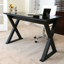 full imagas black glass desk sets applied on the cream floor brings exotic touch inside room furniture large size