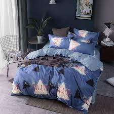 blue bedding sets duvet cover set twin full queen king size bed linen quilt cover flat