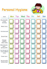 Personal Hygiene Chart For Kids Personal Hygiene