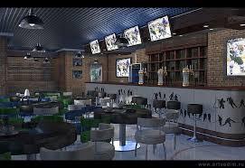 Интерьер спорт бара vadim va Проект по заказу студенки вуза дипломная работа Синий зеленый и белый цвета хоккейного клуба отсюда и цветовое решение атрибутики и элементов