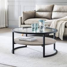 gray oak round coffee table pier