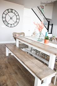 farmhouse table and bench lane dining room with a