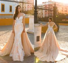 2018 sexy mermaid wedding dresses sheer neck cap sleeves appliques