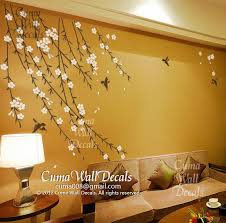 baby girl flower wall decal nursery wall decal and birds pink cherry blossom birds wall decals