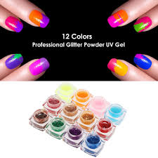 12 Colors Professional Glitter Powder UV Gel Nail Art Gel Sales ...