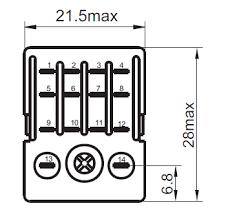 grpinp pdt vac a pin terminals relay technical data gr220pin4p 4pdt 220vac 5a 14 pin terminals relay dimensions