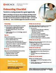 New Hire It Checklist Checklist For Streamlined New Hire Onboarding Kronos