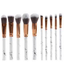 10pcs kabuki style professional soft marble pattern makeup brush set foundation blusher face loose powder beauty